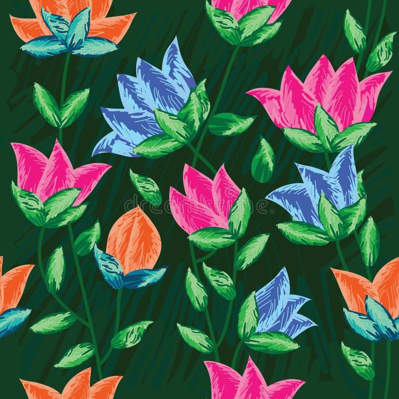 La pittura di tiraggio fiorisce Pattern_eps senza giunte royalty illustrazione gratis