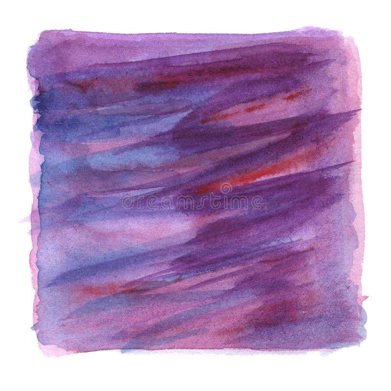 La pittura disegnata a mano porpora, blu e rosa dell'acquerello, sottrae il fondo quadrato illustrazione vettoriale