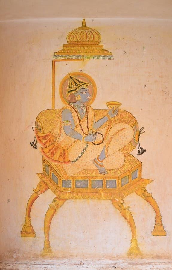 La pittura nella fortificazione di Mehrangarh Jodhpur, India fotografia stock