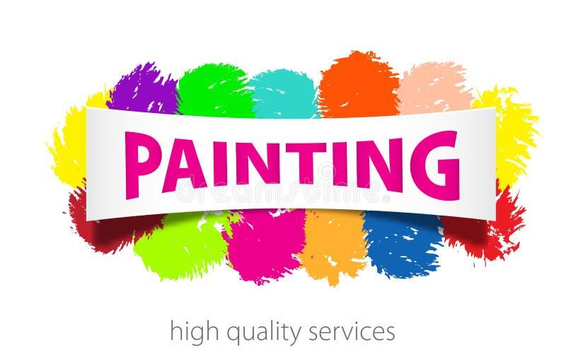 La pittura professionale assiste il logo Spazzola strutturata variopinta dipinta a mano astratta dell'inchiostro su fondo bianco illustrazione vettoriale