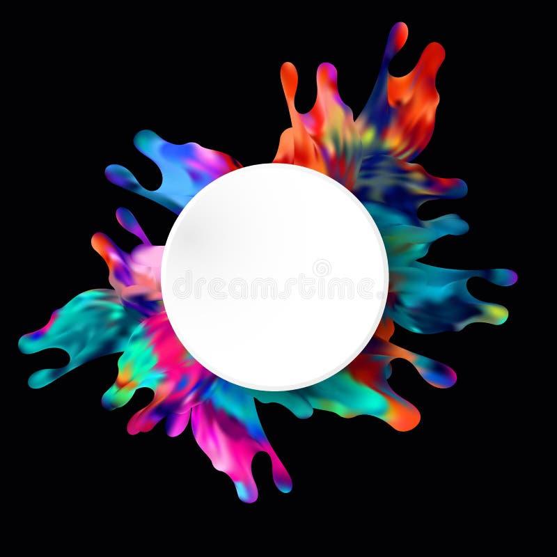 La pittura spruzza schizza il fondo variopinto astratto di vettore del cerchio illustrazione di stock