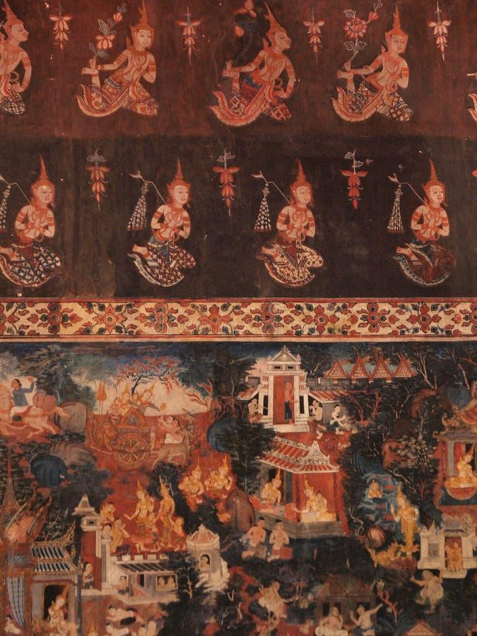 La pittura tailandese tradizionale antica immagini stock