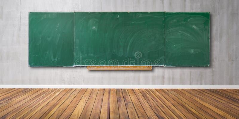 La pizarra verde en blanco, textura de la pizarra con el espacio de la copia cuelga en la pared gris y el piso de madera 3D-Illus foto de archivo libre de regalías