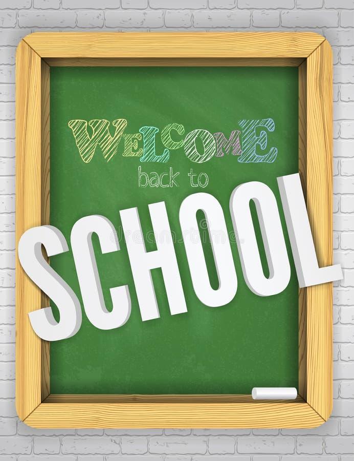 La pizarra verde en una pared de ladrillo acoge con satisfacción a niños a la escuela con las letras animadas brillantes de la ti ilustración del vector