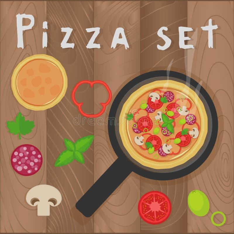 La pizza de vecteur a placé sur le fond en bois dans le style plat Ingrédients de pizza, champignons, tomates, pepperoni, poivre, illustration stock