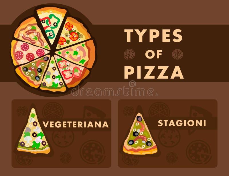La pizza differente scrive il modello del fumetto del manifesto royalty illustrazione gratis