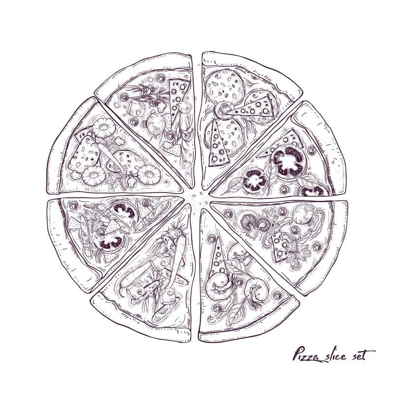 La pizza dividió en ocho rebanadas con diversos desmoches aislados en el fondo blanco Mano del ejemplo del vector dibujada adentr ilustración del vector