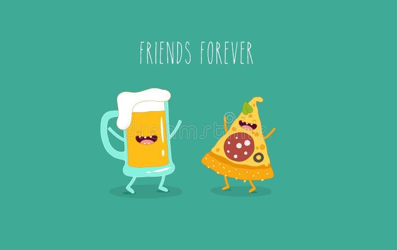 La pizza e la birra sono per sempre amici fotografie stock