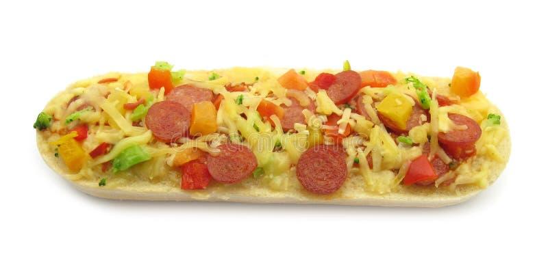 La pizza ha superato il panino del baguette di bruschetta fotografia stock