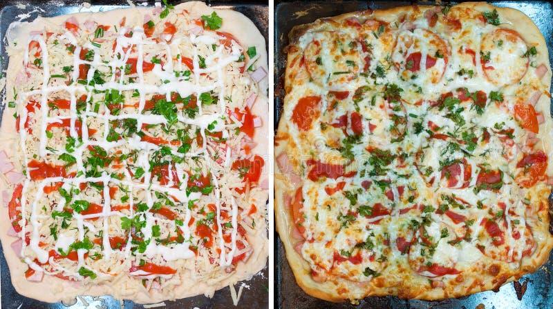 La pizza prima e dopo cuoce immagine stock libera da diritti