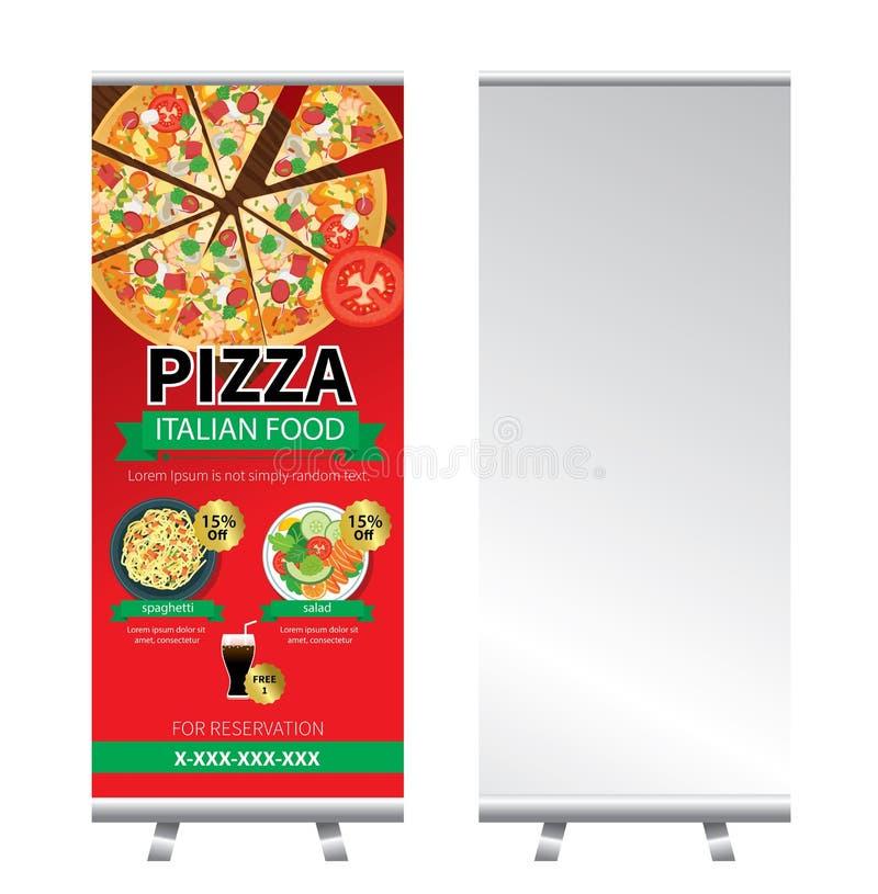 La pizza rueda para arriba diseño del soporte de la bandera libre illustration