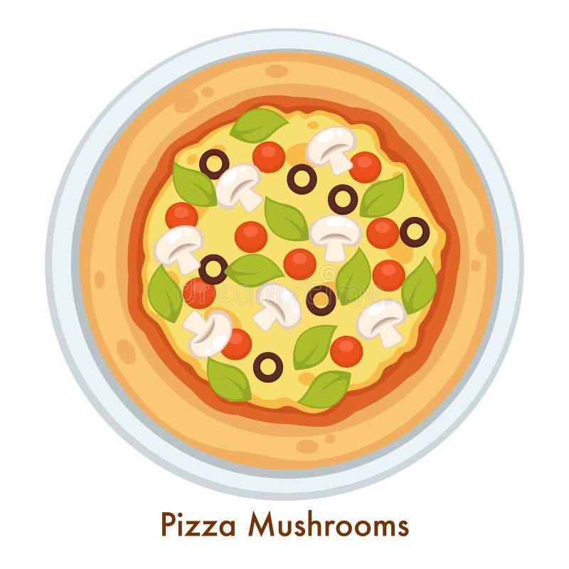 La pizza si espande rapidamente piatto o pasto italiano di cucina con formaggio fuso royalty illustrazione gratis