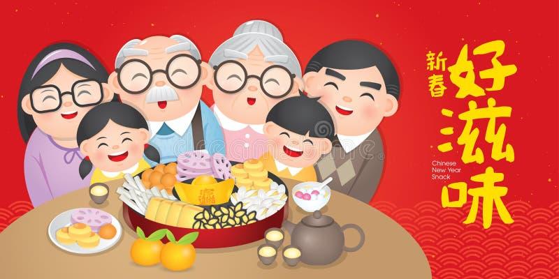 La placa china del bocado del Año Nuevo incluye nueces, los caramelos y las galletas Traducción: Bocado delicioso chino del Año N stock de ilustración