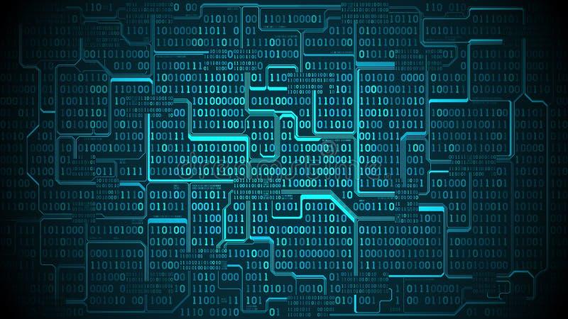 La placa de circuito electrónica futurista abstracta con el código binario, fondo de la matriz con los dígitos, organizó bien cap ilustración del vector