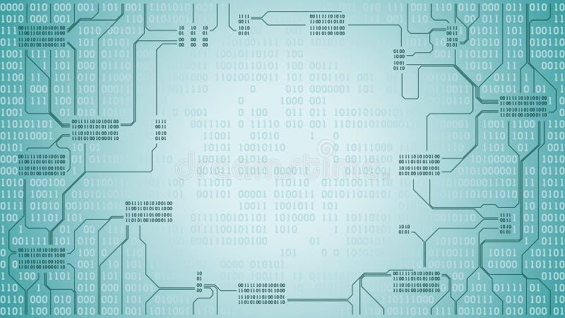 La placa de circuito electrónica futurista abstracta con el código binario, fondo de la tecnología digital del ordenador, marco,  ilustración del vector