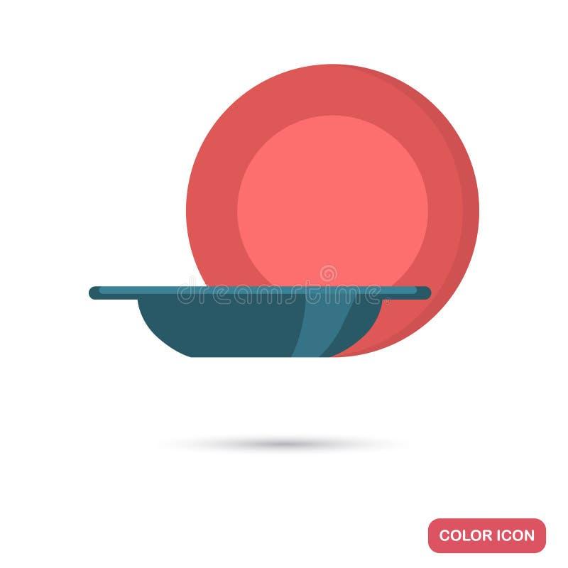 La placa plana y el cuenco colorean los iconos del vector para el web y el diseño móvil ilustración del vector