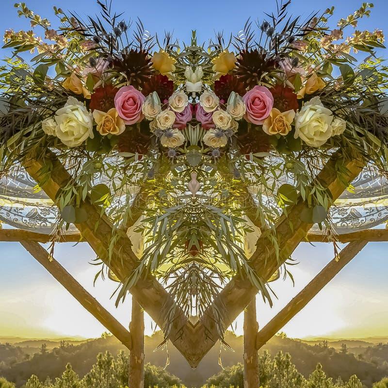 La place Chuppah à un coucher du soleil de épouser juif regarde derrière avec la photo reflétée dans la moitié illustration libre de droits