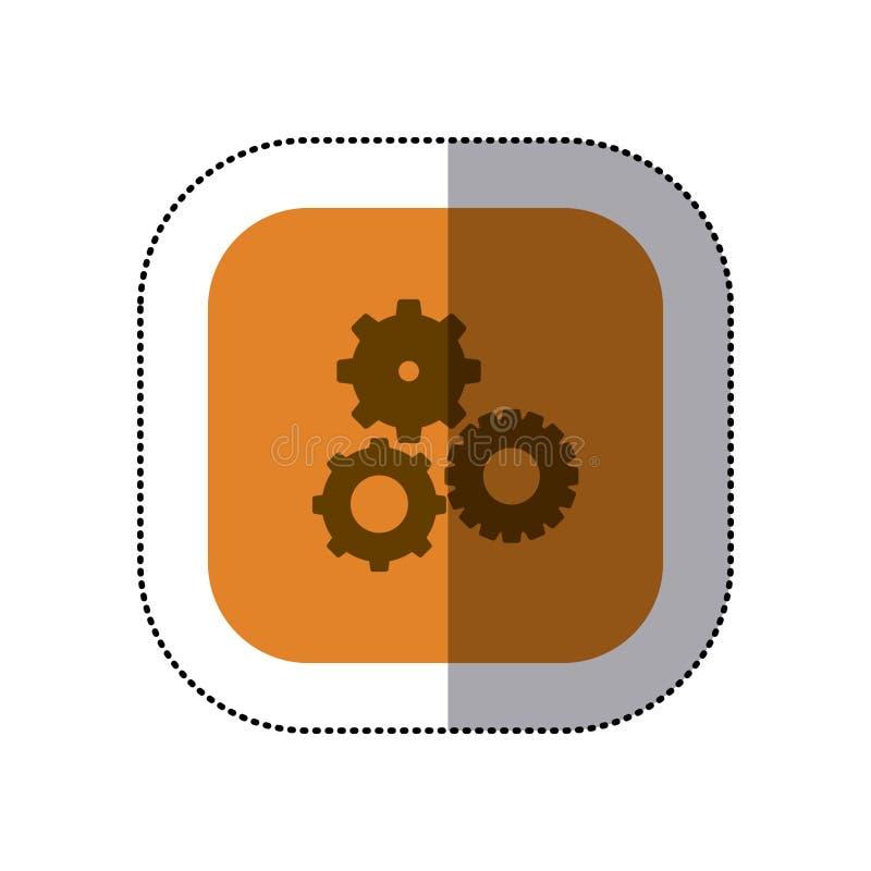 la place de couleur d'autocollant avec des pignons a placé l'icône illustration stock