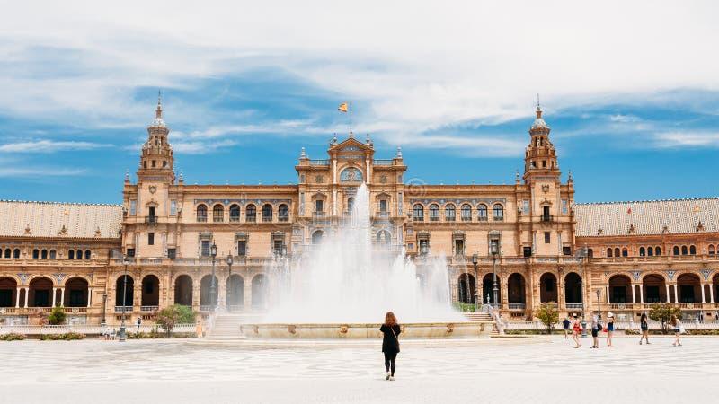 La place de l'Espagne est point de repère en Séville, Andalousie, Espagne Plaza De images libres de droits