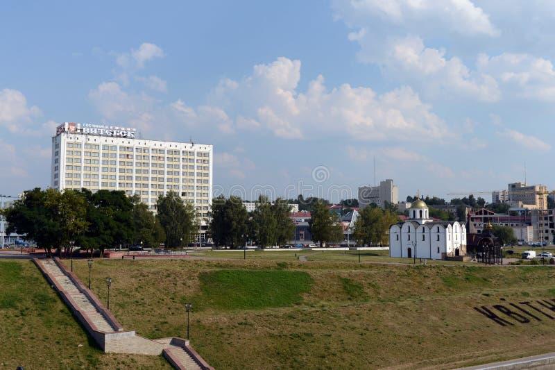 La place de millénaire de Vitebsk et le remblai du Dvina occidental image stock