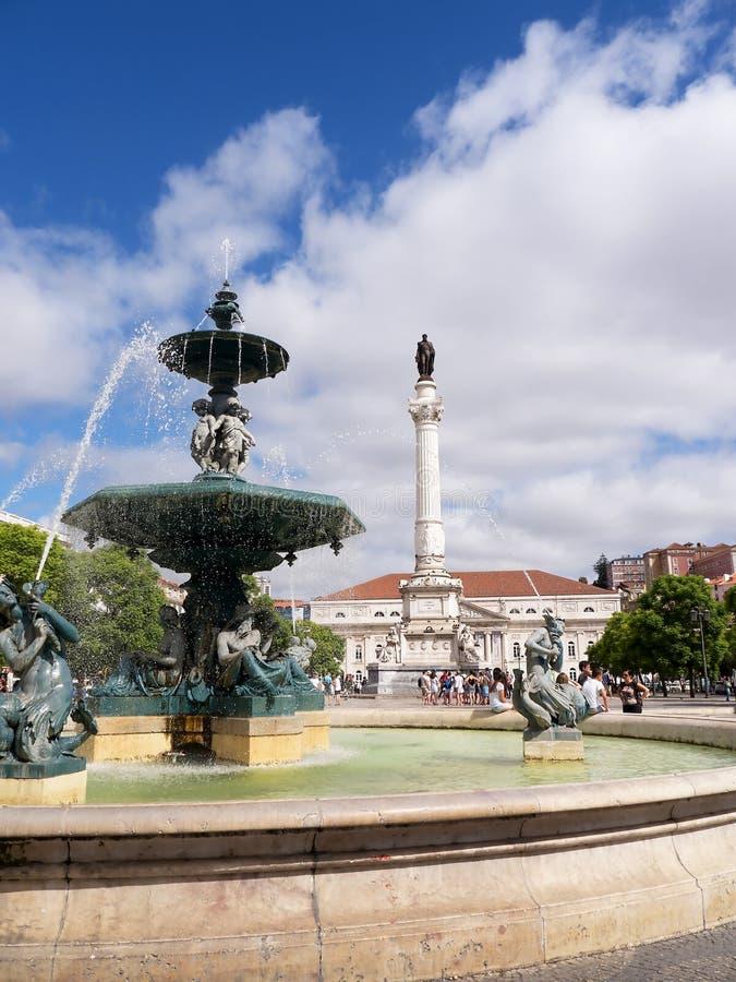 La place de Rossio est le nom populaire de la place de Pedro IV dans la ville de Lisbonne, au Portugal image libre de droits