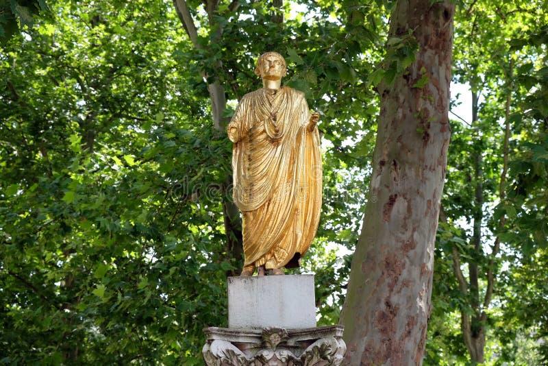 La place du congrès a doré la statue du citoyen d'Emona, Ljubljana image libre de droits