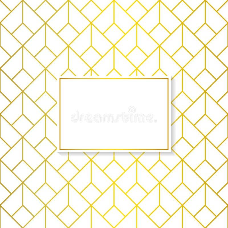La place géométrique d'or sans couture forme le modèle à l'arrière-plan blanc illustration de vecteur