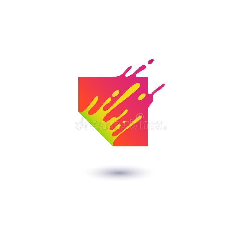 La place rouge liquide éclabousse dans le style plat de mouvement illustration libre de droits
