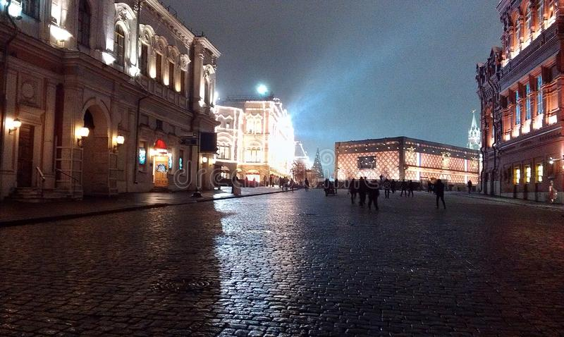 La place rouge, Moscou, bientôt la nouvelle année image libre de droits