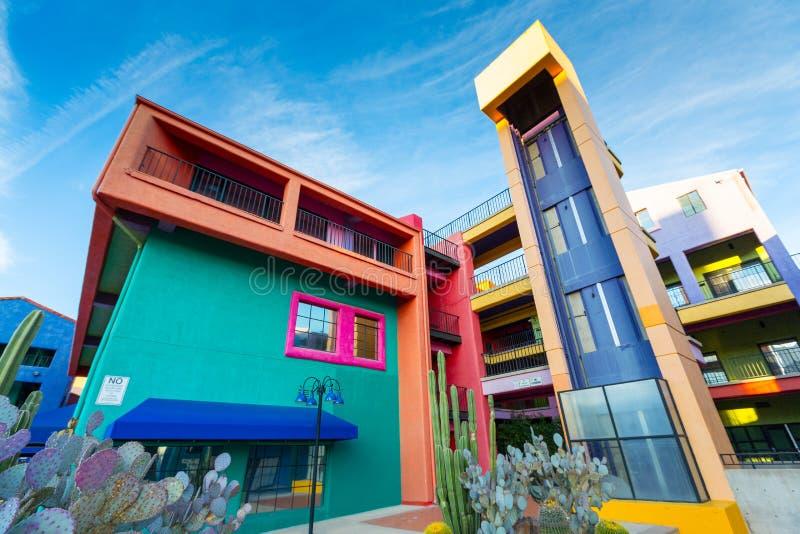 La Placita村庄购物中心在街市图森, AZ 图库摄影