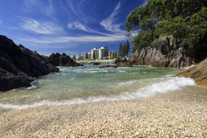 Bâti coquillier Maunganui, Nouvelle Zélande de plage photo libre de droits