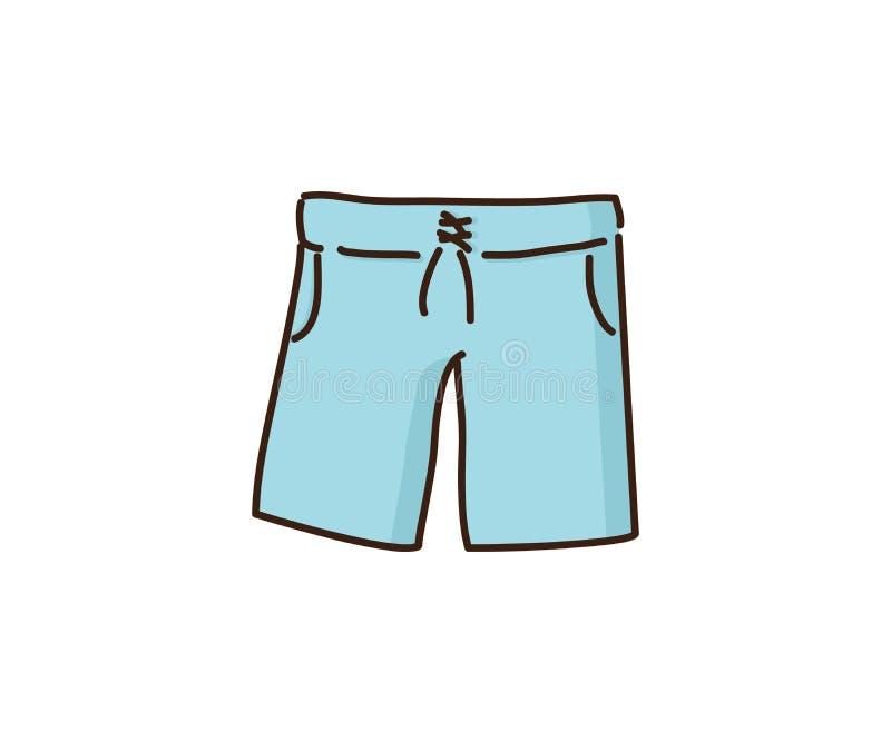 La plage court-circuite des vêtements de mode d'été pour les hommes Icône tirée par la main d'illustration de griffonnage de vect illustration stock