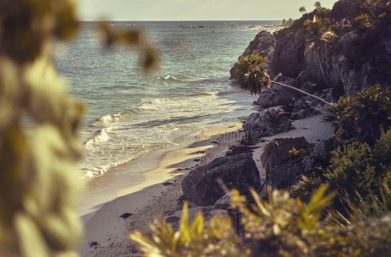 La plage de Tulum a complètement abandonné photographie stock libre de droits