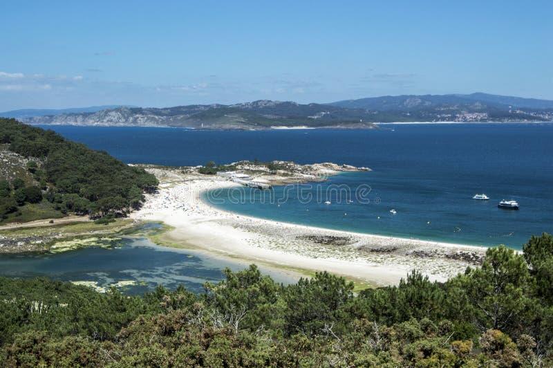 La plage des îles de Cies photos stock