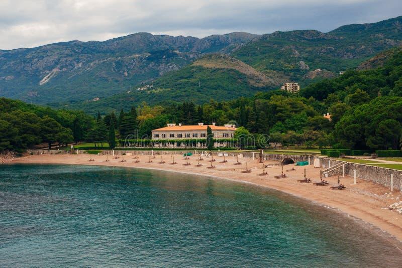 La plage du ` s de reine près de la villa Milocer dans Monténégro photos libres de droits