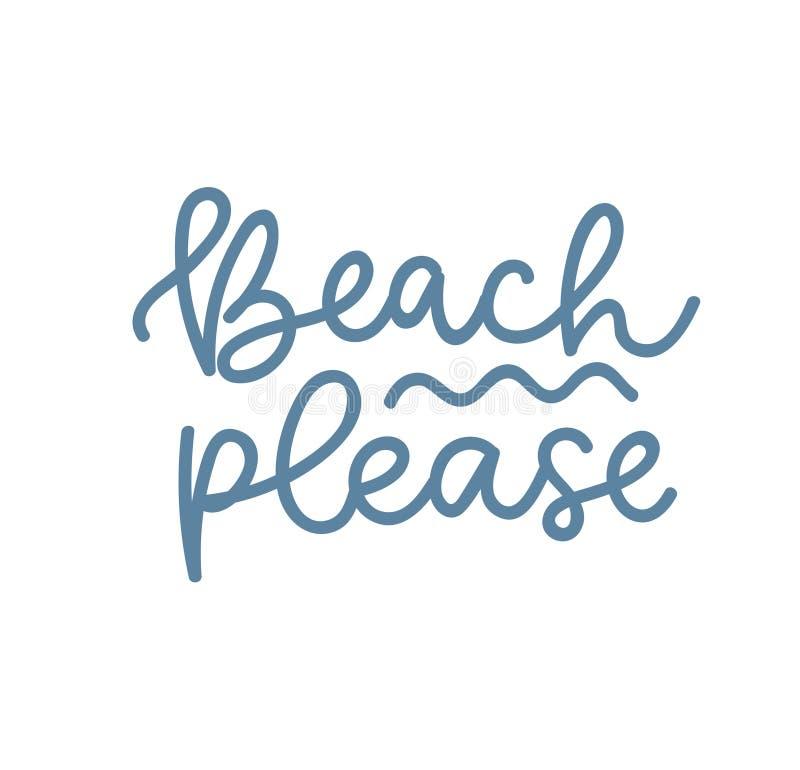 La plage satisfont la conception d'été Illustration de lettrage d'été de vecteur Citation inspir?e d'?t? illustration stock
