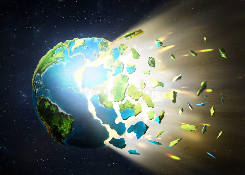 La planète éclate, dispersant dans des morceaux sur un espace photographie stock