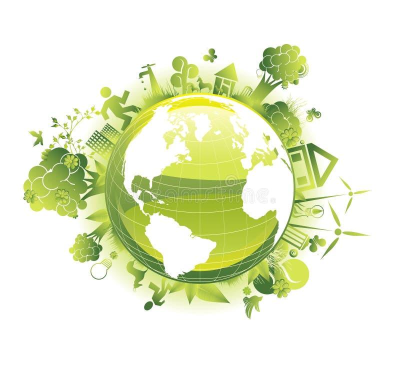 la planète d'écologie de concept sauvegardent illustration libre de droits