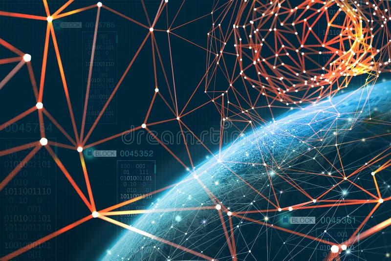 La planète est entourée par un réseau d'information global La technologie de Blockchain protège des données Ère d'intelligence ar illustration libre de droits
