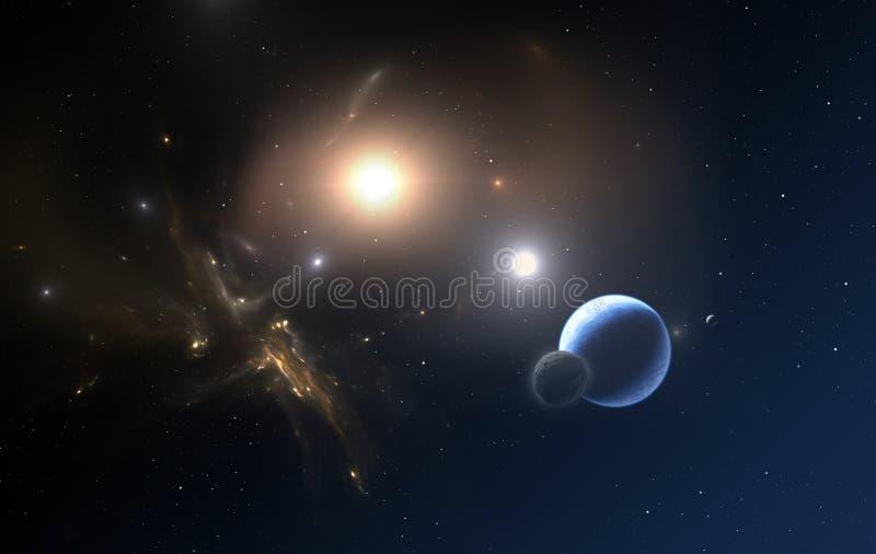 La planète Extrasolar et deux étoiles orbitent au sujet de leur terrain communal au centre de la masse illustration de vecteur