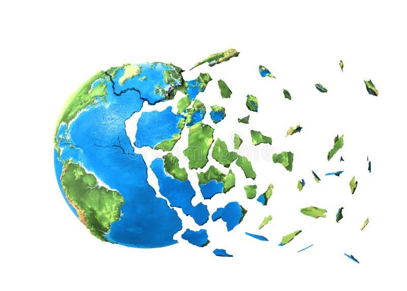 La planète se brise dans des tessons illustration stock