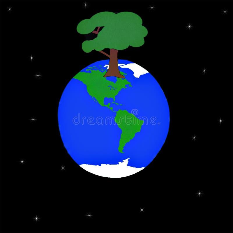 La planète sur laquelle a élevé un grand arbre illustration stock