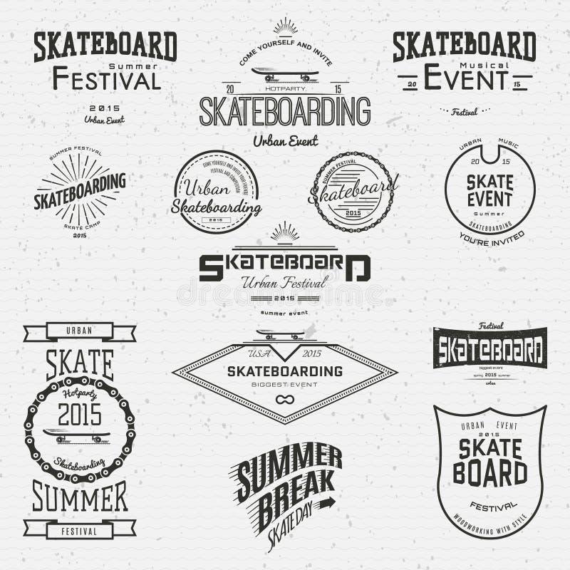 La planche à roulettes badges des logos et des labels pour utilisation illustration stock