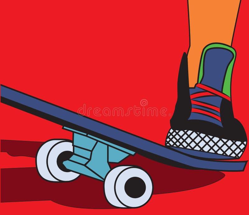 La planche à roulettes de jambes illustration stock