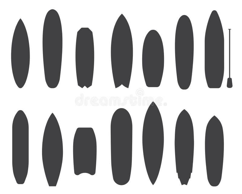 La planche de surf dactylographie des icônes d'ensemble illustration de vecteur