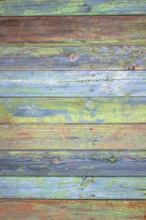 La planche en bois peinte par gris vert peut être employée comme fond Fond en bois de poussin rustique et minable Modèle en bois  photo stock