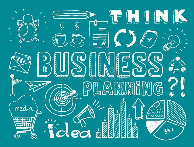 La planificación de empresas garabatea elementos ilustración del vector