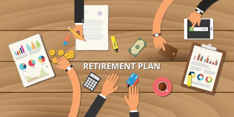 La planificación de la jubilación financiera consulta la preparación ilustración del vector