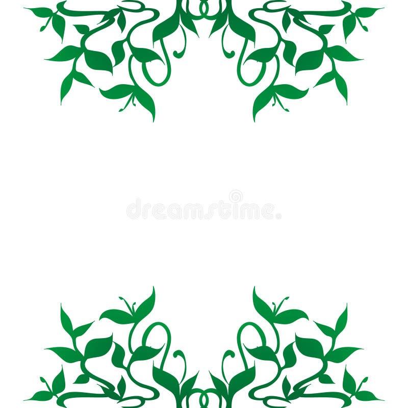 La planta brota la decoración de la frontera del marco ilustración del vector