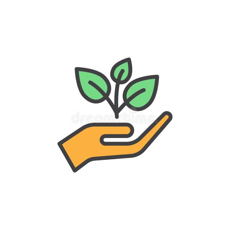La planta, brote en una mano llenó el icono del esquema, línea muestra del vector, pictograma colorido linear libre illustration